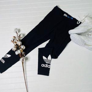 Adidas Black Trefoil Logo Leggings